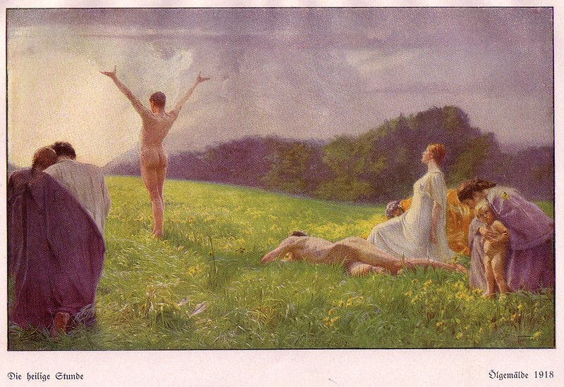 Die Heilge Stude (The Holy Hour) 1918, painting of sun worship